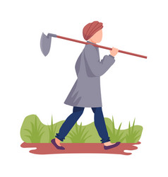 Asian male farmer carrying hoe or picker for vector