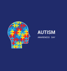 Autism awareness day head-shaped puzzles blue vector