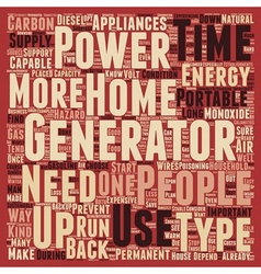 Backup power home energy generator and sustainable vector