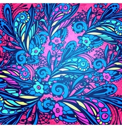 Blue and violet flower seamless pattern vector image