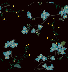 blue blooming flower seamless pattern vector image