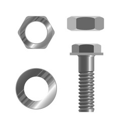 Bolt fastener and several types of nuts realistic vector