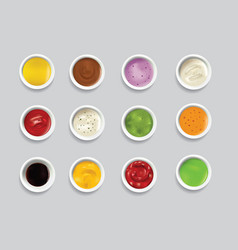 Bowls dip bowl sauces gravy dressing top view vector