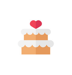 Cake with hearth icon vector