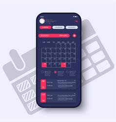 calendar 2020 organizer concept ui ux gui vector image