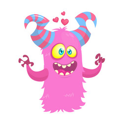 cartoon funny monster in love st valentines day vector image