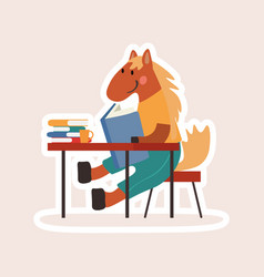 cartoon student horse studying at a desk vector image