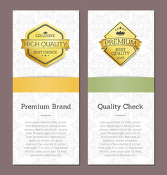 check quality premium brand golden award posters vector image