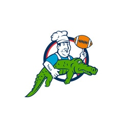 Chef twirling football carry alligator circle vector