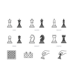 Chess piece line icon outline vector