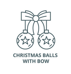 christmas balls with bow line icon vector image