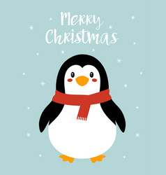 christmas card with cute penguin vector image