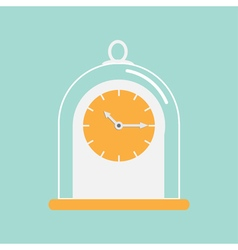 Clock icon with glass cap Flat design Blue vector image