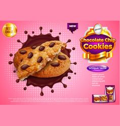 Cookies in chocolate splash ads background vector