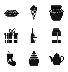 Cool holiday icons set simple style vector