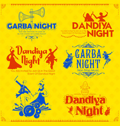 Couple playing dandiya in disco garba night poster vector