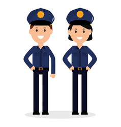 Couple police officers avatars characters vector