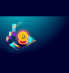 Cryptocurrency bitcoin and blockchain concept vector