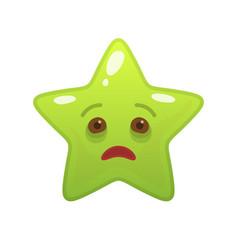 Diseased star shaped comic emoticon vector