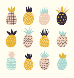 doodle pineapples colored decorative abstract vector image