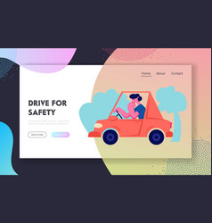 Driver riding auto website landing page city vector