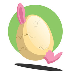 easter bunny in cracked egg smiling in front of a vector image