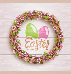 Easter festive twigs wreath with flowers on vector