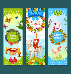 easter spring holiday festive banner set design vector image