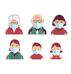 Family wearing protective medical masks vector