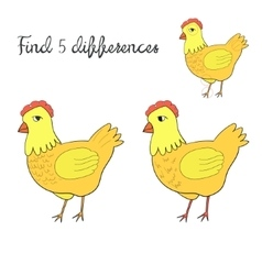 Find differences kids layout for game hen chicken vector image