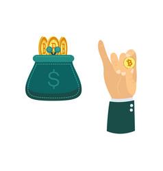 flat bitcoin mining symbols set vector image