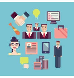Flat business people meeting icons set of vector image