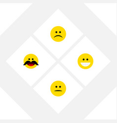 Flat icon face set of cheerful grin displeased vector