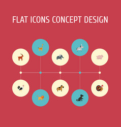 Flat icons trunked animal moose gobbler and vector