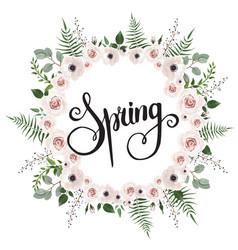 Floral card design with pink creamy white garden vector