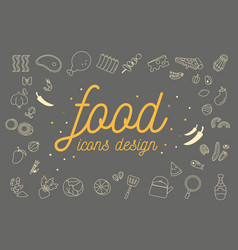 food icons design set vector image