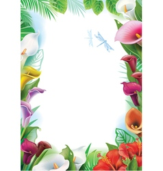 Frame with tropical flowers vector