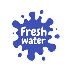 fresh water splash icon white blot drop water vector image