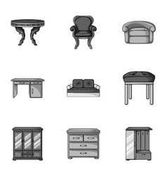 Furniture and home interior set icons in vector image vector image