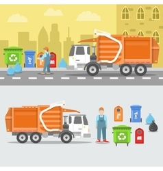 Garbage Recycling Set with Truck and Containers vector image