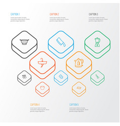 Gastronomy icons line style set with chopping vector