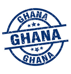 Ghana blue round grunge stamp vector