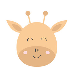Giraffe round face head icon kawaii animal cute vector