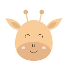 giraffe round face head icon kawaii animal cute vector image