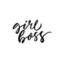 Girl boss phrase ink vector