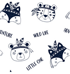 hand drawing cute animals pattern vector image