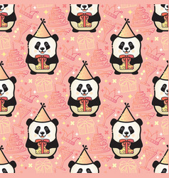 happy birthday panda seamless party vector image