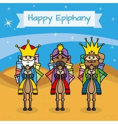 Happy epiphany card vector