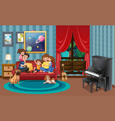Happy family in ling room vector