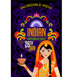 Happy republic day indian festival poster vector